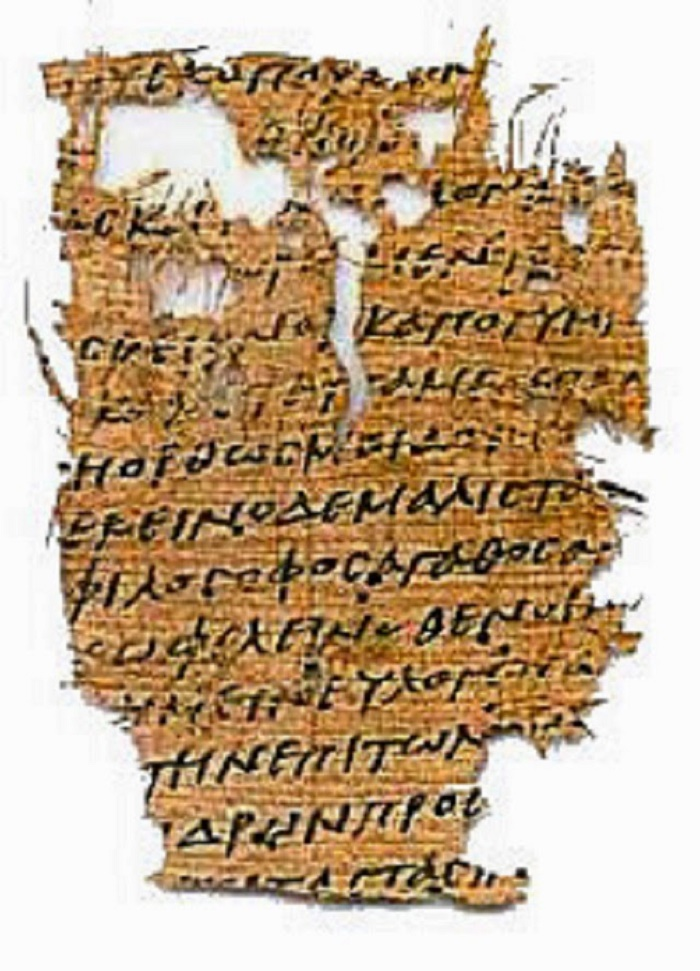 Papyrus jossa katkelma Aristoteleen Politiikasta.