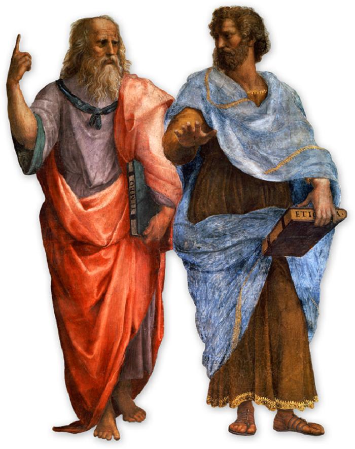 Platon ja Aristotels (Rafaelin maalauksesta Ateenan Koulu).
