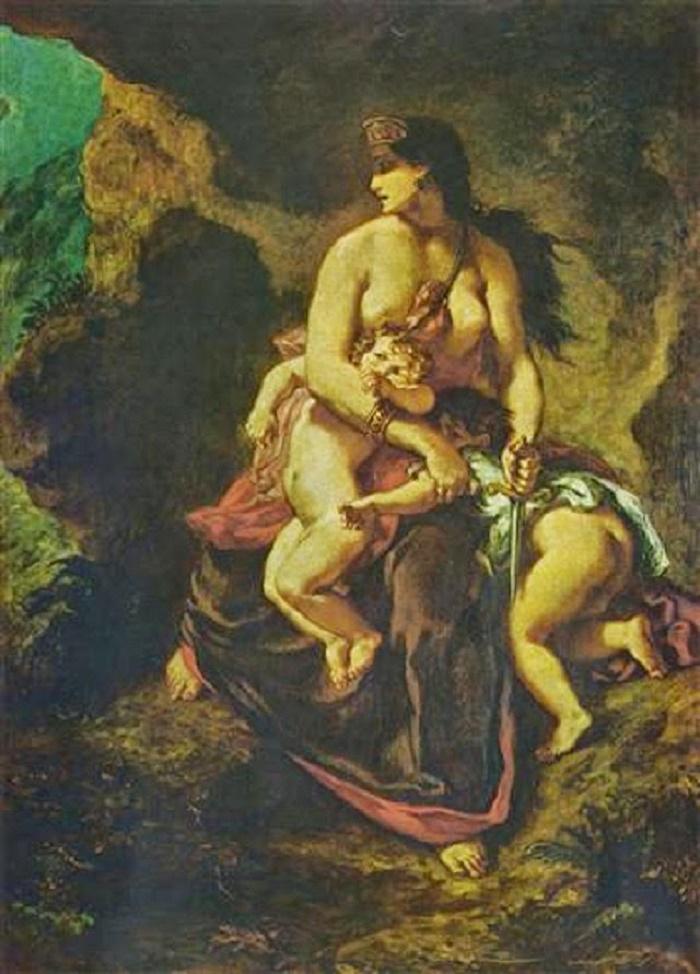 Roomalaiset omaksuivat kreikkalaisilta monia tapoja mm. epätoivottujen lasten surmaamisen. Kreikkalaisessa tarussa kuninkaantytär Medeia surmaa epätoivoissaan kaksi lastaan. Eugene Delacroixin maalaus vuodelta 1838.