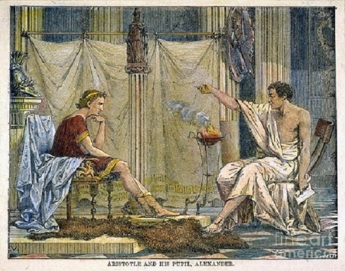 Aristoteles opettaa Aleksanteria, Jean Leon Gerome Ferrisin maalaus vuodelta 1895.