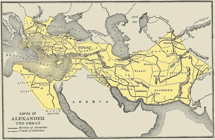 Kartta Aleksanterin valtakunnasta sen ollessa laajemmillaan. Kuva: Wikipedia.