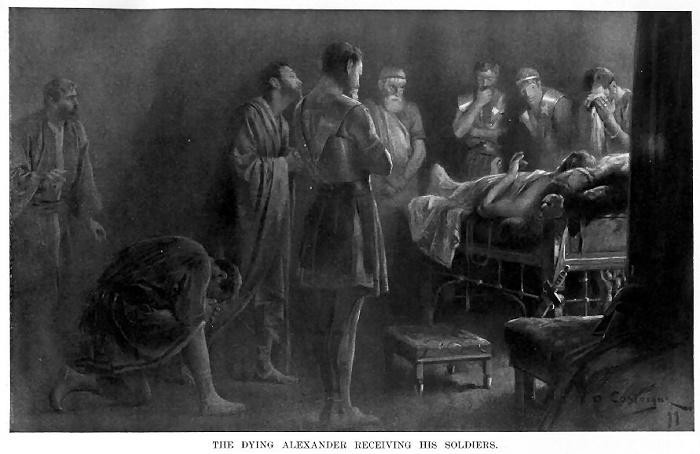 Sotilaat Aleksanterin kuolinvuoteen äärellä, Andre Castaigne 1899