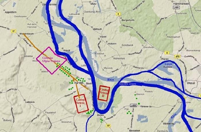 Kartta Castra Vetera,suuri tukikohta, jossa Plinius vietti 10 vuotta ratsuväen komentajana. Sijaintipaikka Ala-Reinin varrella.