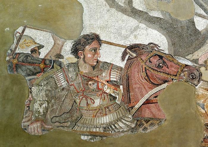 Aleksanteri Mosaiikki Pompejiista. Mosaiikki kuvaa joko Issoksen tai Gaugamelan taistelua.