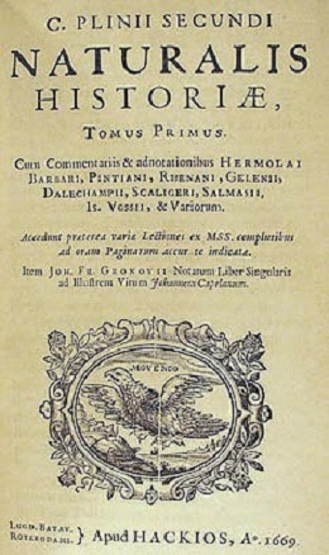 Naturalis Historian kansilehti 1600-luvulta. Naturalis Historia on Plinius Vanhemman ainut säilynyt teos. Se valmistui vuonna 77 jKr.