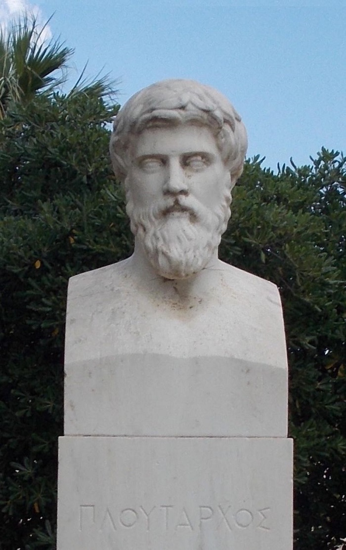 Plutarkhoksen patsas Chaeroneassa. Kuva: Wikipedia.
