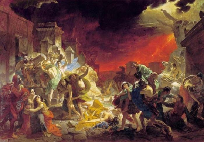 Pompeiin viimeiset päivät. Karl Brjullovin maalaus vuodelta 1828. Teos välittää katsojalle luonnonkatastrofin apokalyptisen luonteen. Monet Pompeiin tuhon kokeneista tunsivat maailmanlopun tulleen.