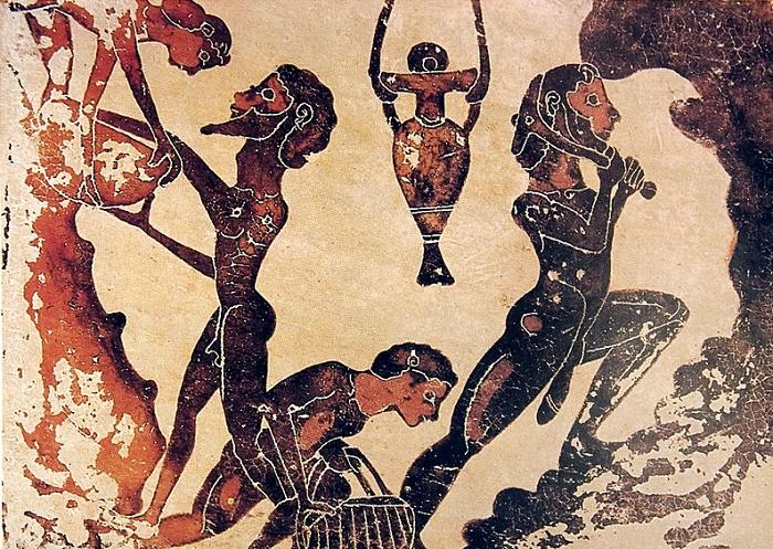 Orjia työskentelemässä Lauriumin kaivoksessa. Kuva: Wikipedia.