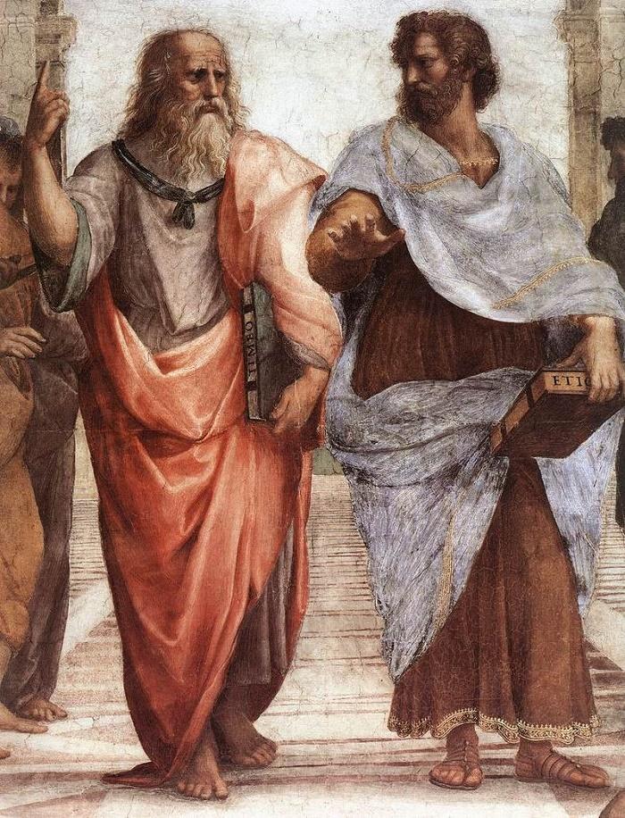Platon ja Aristoteles Rafaelin maalauksessa Ateenan koulu. Se on maalattu vuosien 1509 ja 1510 välillä.