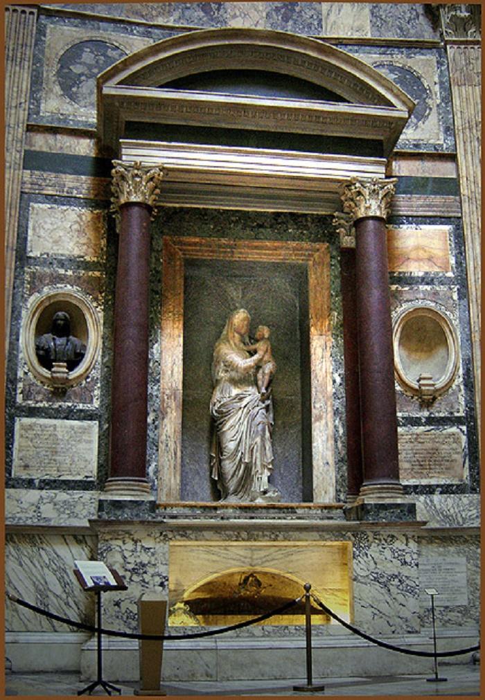 Rafaelin hauta. Taiteilijan haudan yläpuolella on Lorenzetton Madonna.
