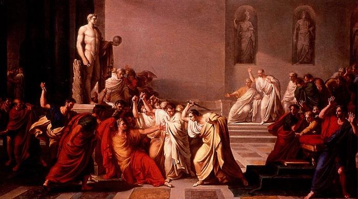 Caesarin murha. Vincenzo Camuccinin maalaus vuodelta1798.