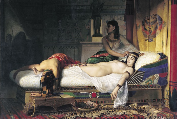 Kleopatran kuolema. Jean-André Rixensin öljyvärityö vuodelta1874.