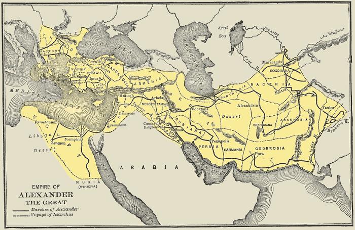 Kartta Aleksanteri Suuren valtakunnasta sen ollessa laajimmillaan.
