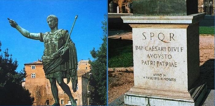 Keisari Augustusta esittävä patsas Mussolinin rakennuttamalla Via dei Fori Imperialilla.