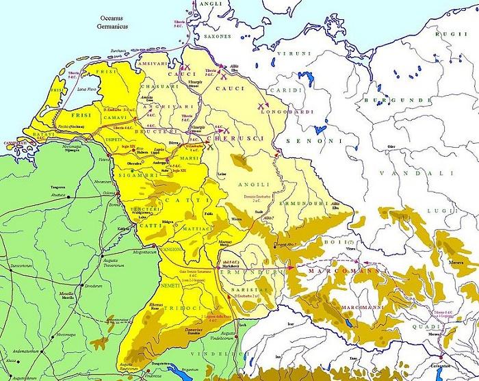 Kartta Tiberiuksen sotaretkistä Germaniassa vuosina 6-1 eKr.