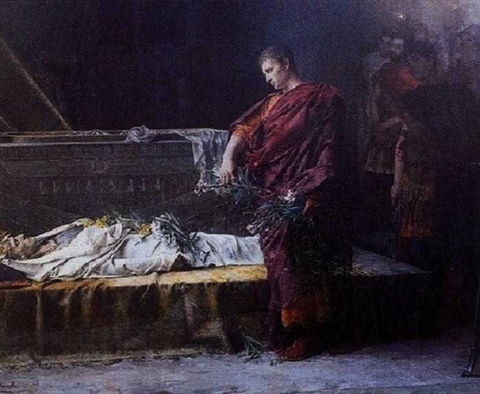 Julius Caesar Aleksanteri Suuren haudalla. Gustave Courtoisin (1852-1923) maalaus vuodelta 1878. Musée de Vesoul, Pariisi.
