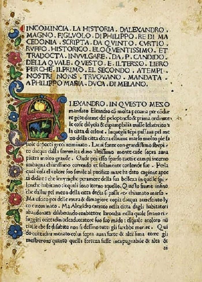 Inkunaabeli (Inkunaabeli (lat. incunabulum) eli kehtopainate on kirja tai sivu, joka on painettu, ei käsin kirjoitettu, kirjapainotaidon alkuvaiheessa Euroopassa ennen vuotta 1501) Curtiuksen Historiae Alexandri Magni Macedoniksen italiankielisestä käännöksestä.