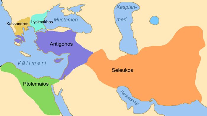 Aleksanteri Suuren valtakunta jakaantui aluksi Antigonoksen, Seleukoksen, Ptolemaioksen, Kassandroksen ja Lysimakhoksen perustamiin kuningaskuntiin.