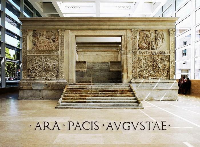 Ara Pacis Augustae - Augustuksen rauhanalttari. Valokuvaaja tuntematon.