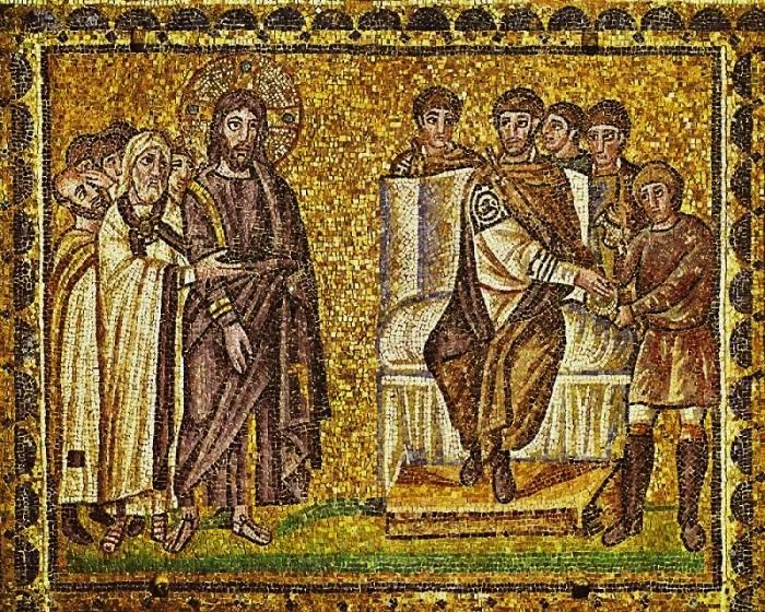Jezus-voor-Pilatus_6e-eeuw_onbekende-kunstenaar_Ravenna
